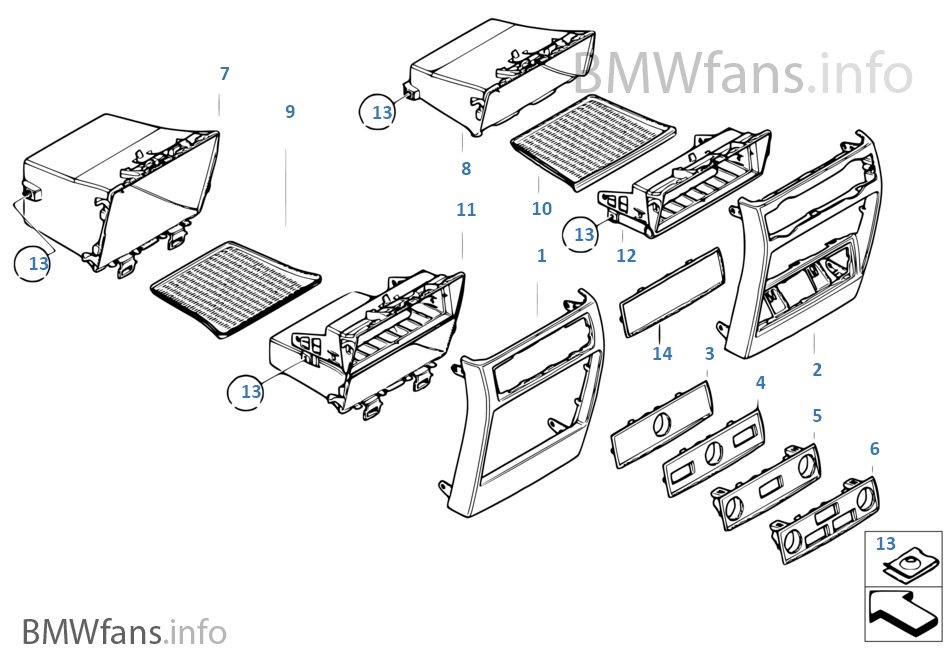 mounting parts  center console  rear