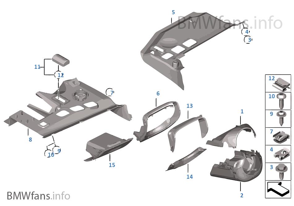 Mounting parts, I-panel, bottom