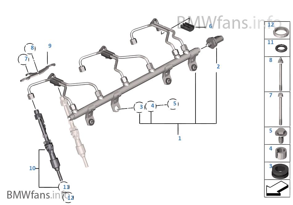 Rail haute pression/injecteur/conduite