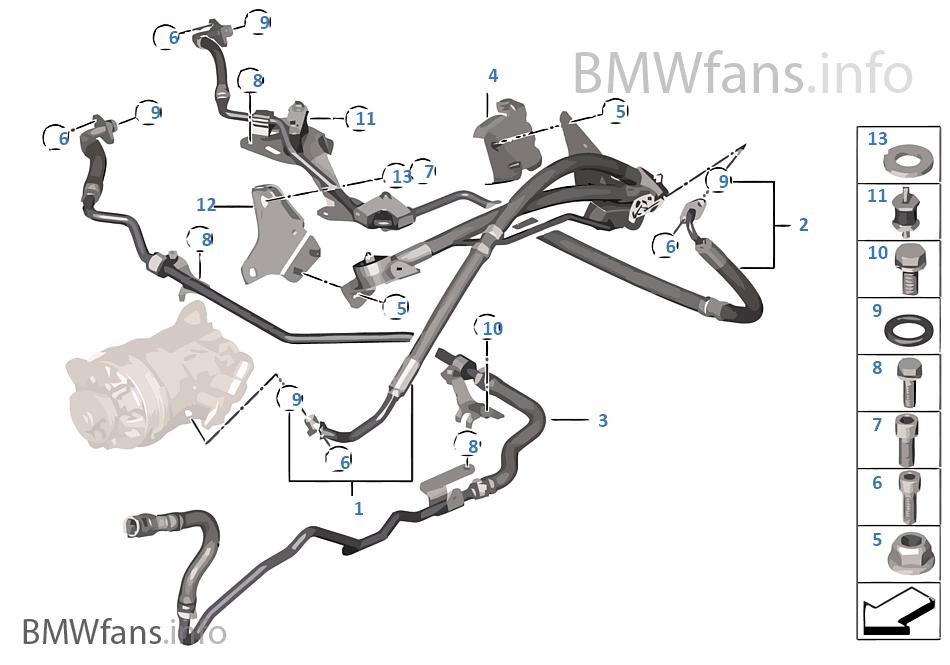 Fluid lines / Adaptive Drive | BMW X5 F15 X5 35iX N55 USA