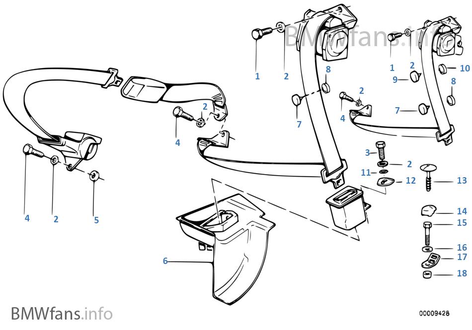 Pezzi di cintura di sicurezza posteriore