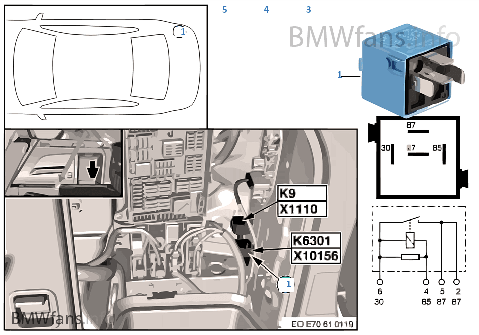 relay for fuel pump k6301 bmw x5 e70 x5 4 8i n62n usa rh bmwfans info Electric Fuel Pump Installation Jeep Fuel Pump Relay Schematic