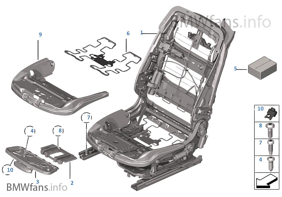 Fotel przedni, rama fotela