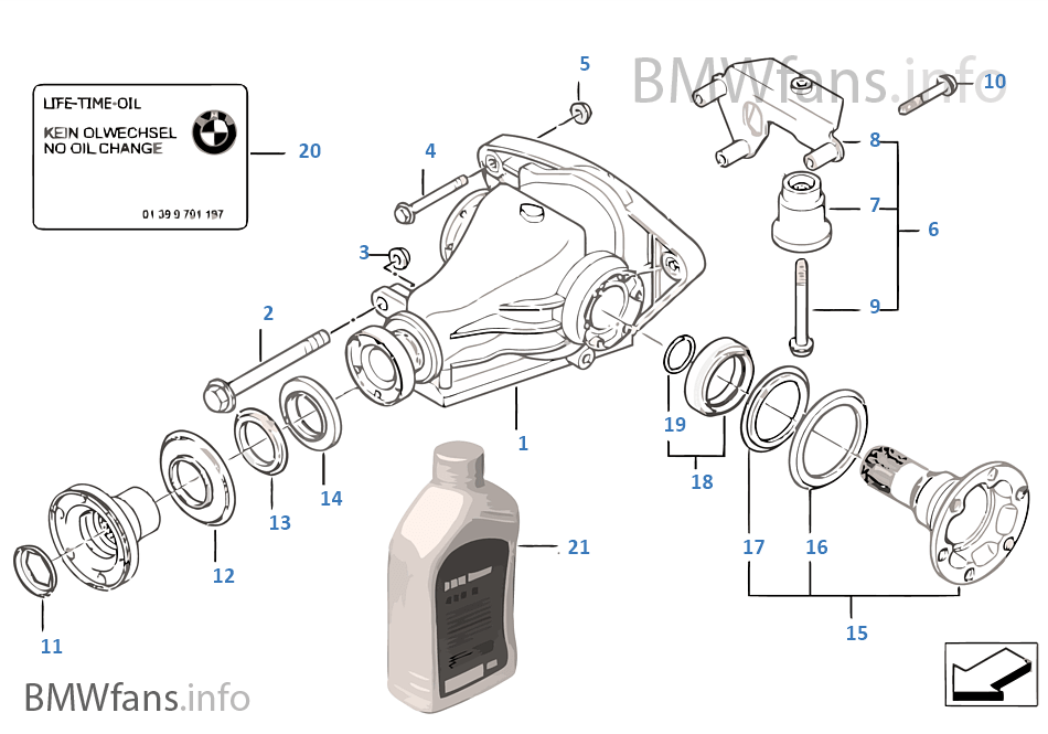 differential drive output bmw 5 e39 523i m52 europe rh bmwfans info 1999 Jimmy 4x4 Rear Differential Schematic 1999 Jimmy 4x4 Rear Differential Schematic