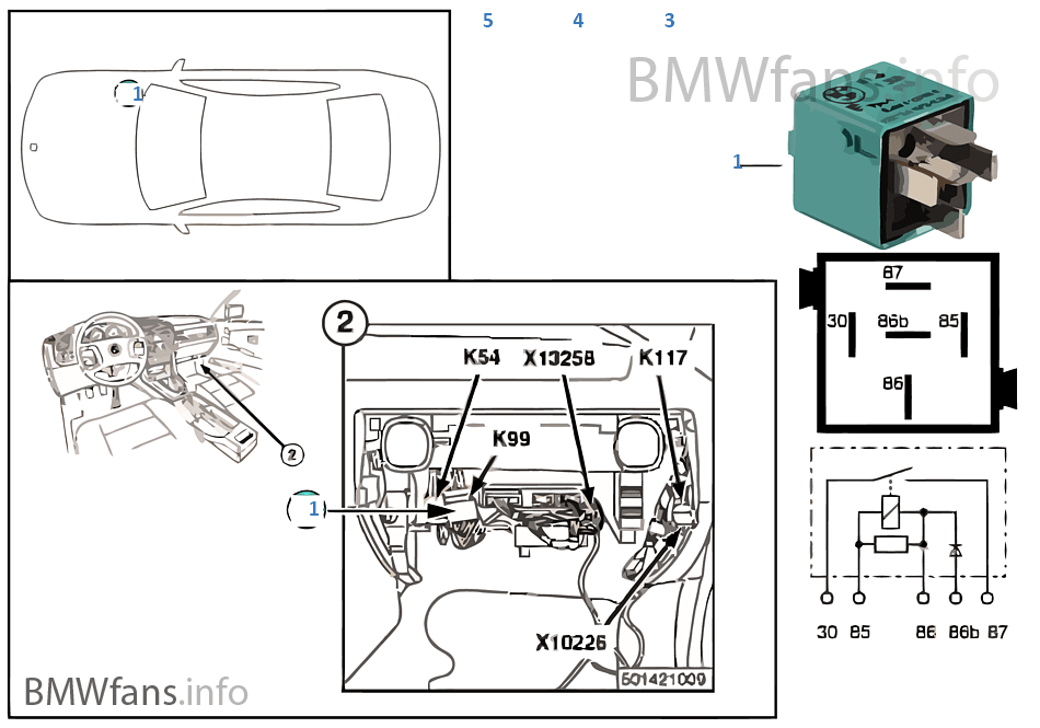 relay for rear window blower k99