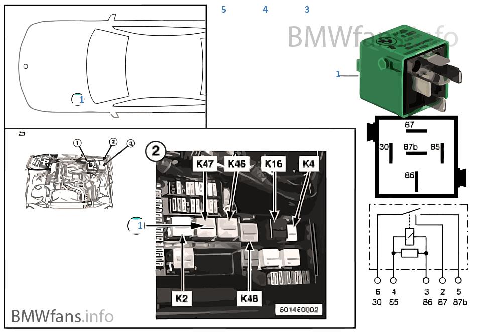 Relay, front fog lamp K47 | BMW Z3 E36 Z3 1.8 M43 Europe