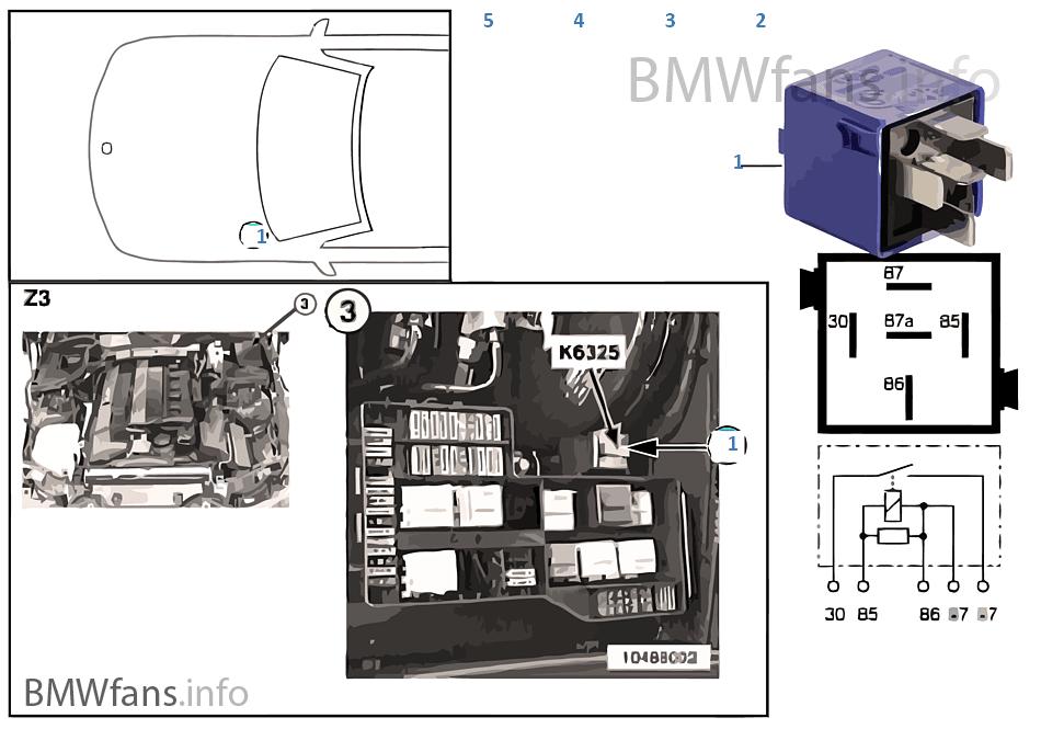 relais r ckfahrlicht k6325 bmw z3 e36 z3 1 8 m43 europa. Black Bedroom Furniture Sets. Home Design Ideas