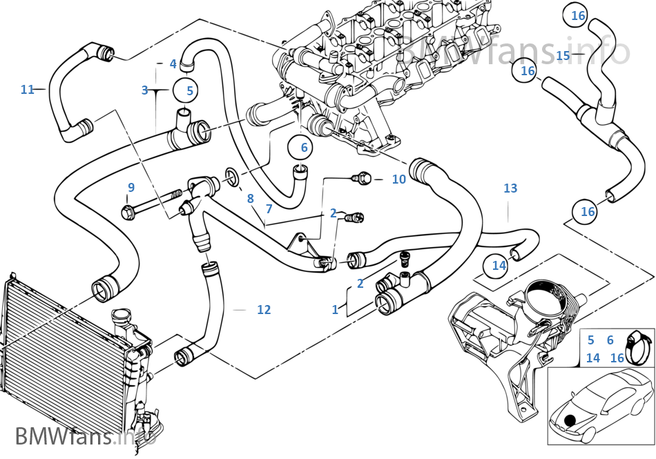 cooling system water hoses bmw 3 e46 320d m47 europe