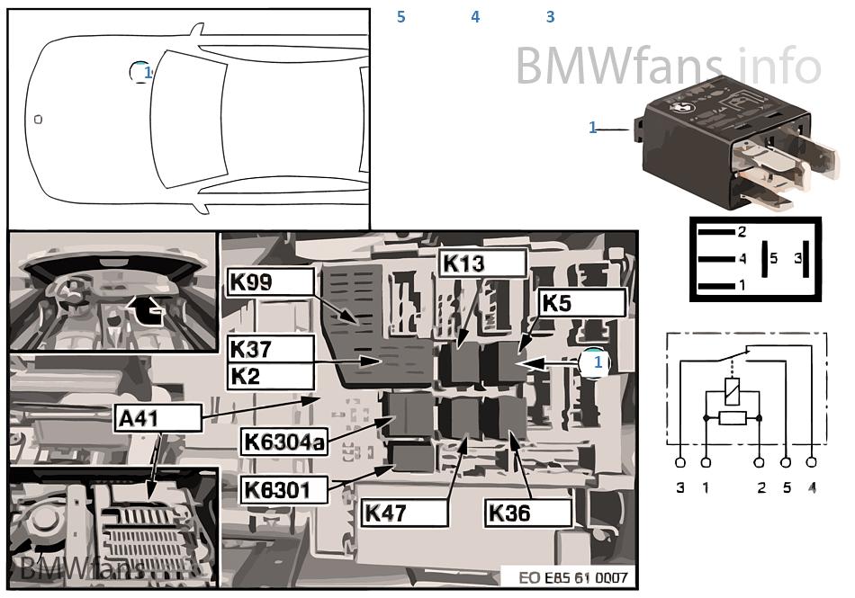 Relais Waschpumpe vorn K5   BMW Z4 E85 Z4 2.2i M54 Europa