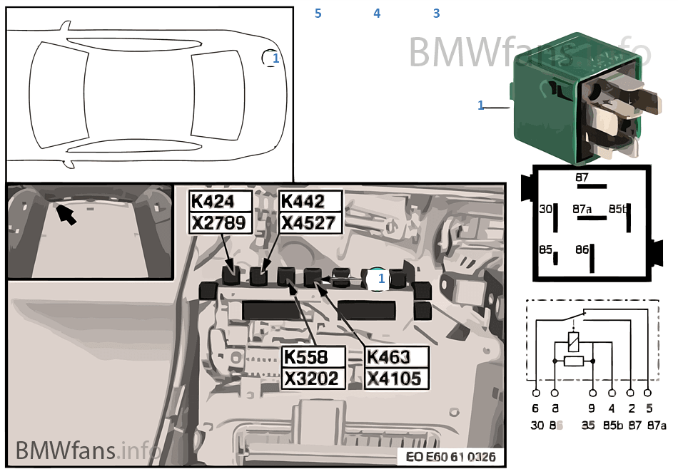 relay for radio signal   horn k463 bmw 5  e61 525d m57n europe BMW Factory Wiring Diagrams BMW Factory Wiring Diagrams