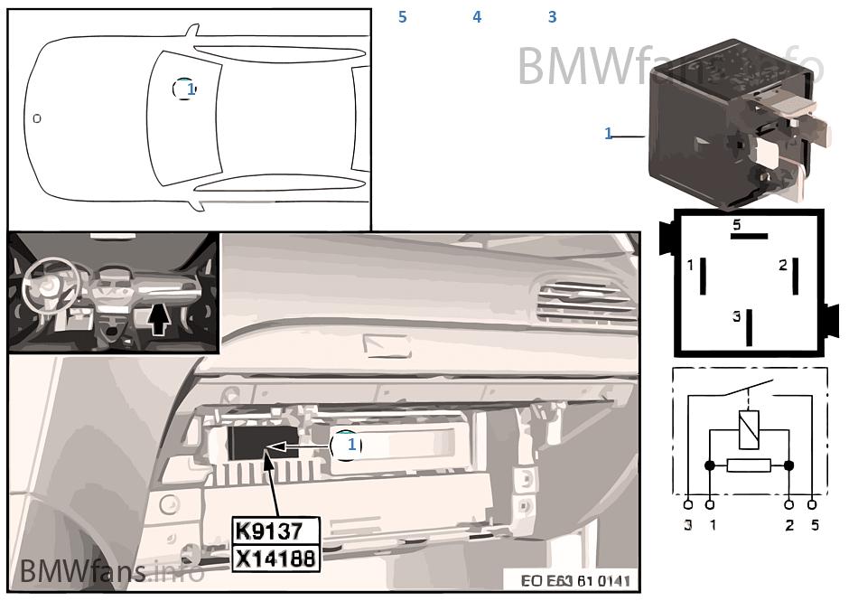 Relais Elektrolüfter K9137 Bmw 5 E61 530d M57n Europa