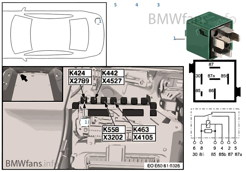relais waffenhalterung k424 bmw 5 39 e61 530d m57n europa. Black Bedroom Furniture Sets. Home Design Ideas