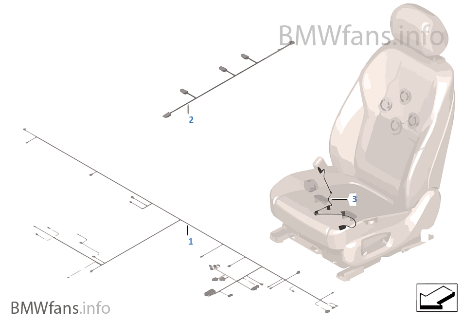 Wiring harness, seat, front | BMW X5 F15 X5 35i N55 USA on