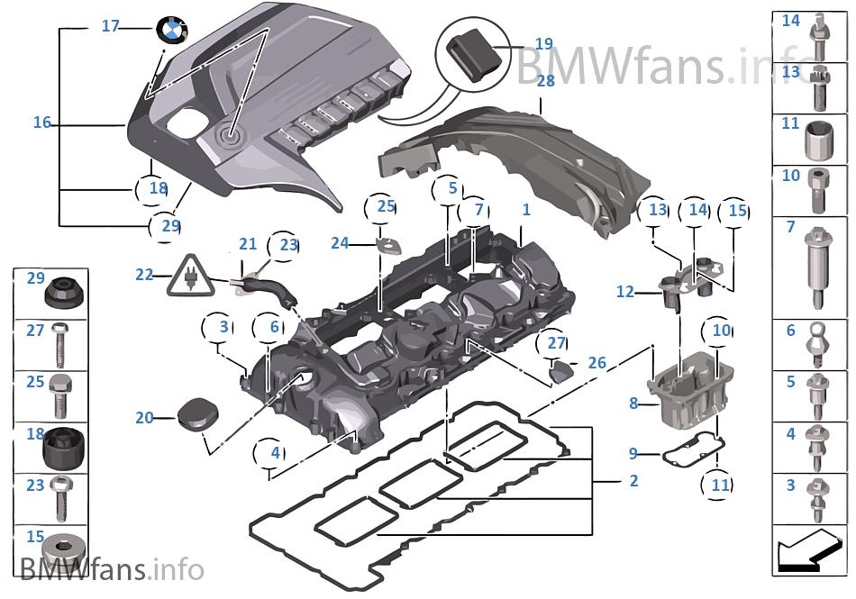 cylinder head cover bmw 3 f30 335i n55 europe rh bmwfans info 2007 bmw 335i engine diagram bmw 335i engine parts diagram