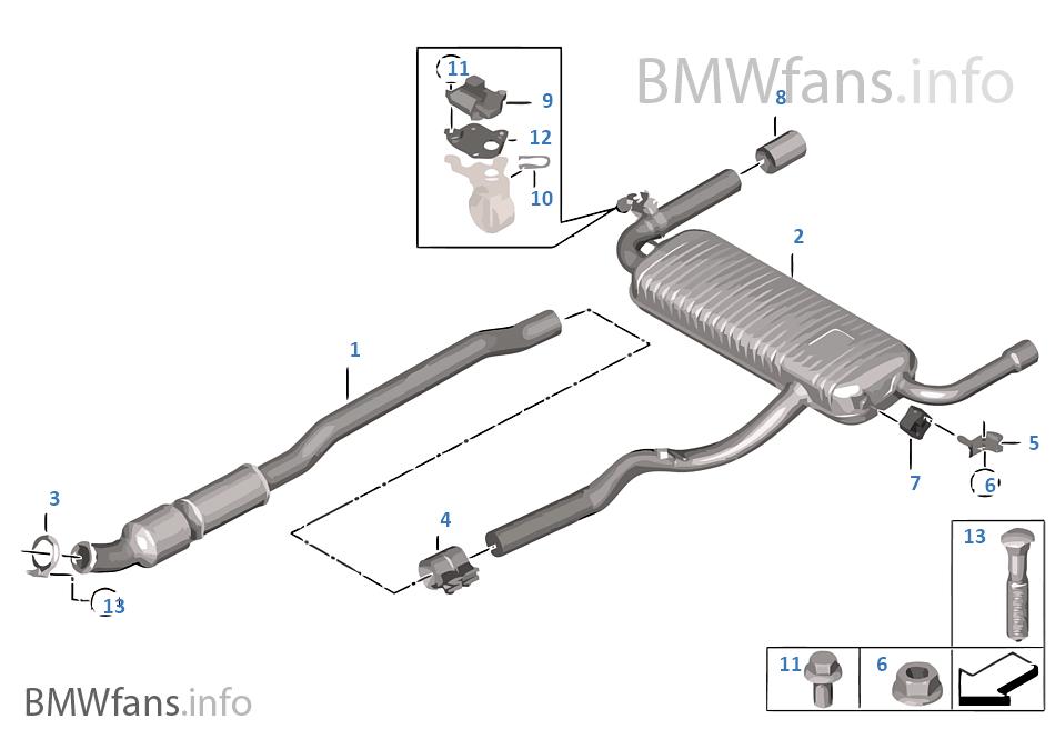 exhaust system rear bmw x1 f48 x1 28ix b46 usa Muffler Shops Catalytic Converter exhaust system rear