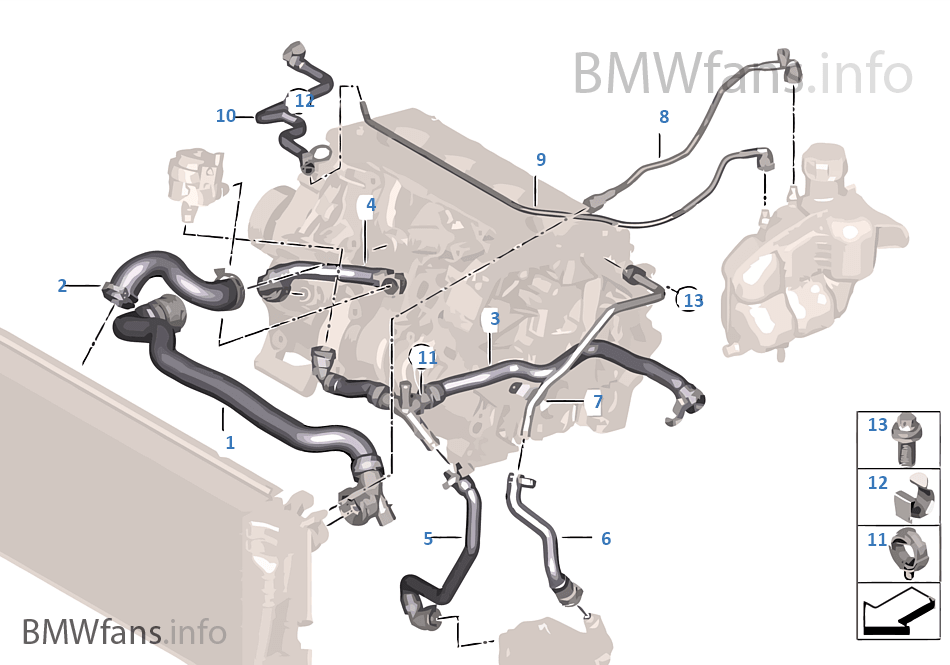 cooling system coolant hoses bmw x1 f48 x1 20ix b48 europe Bmw B48 Engine Diagram