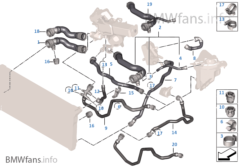 Cooling System Coolant Hoses Bmw 7 F01 730d N57 Europe