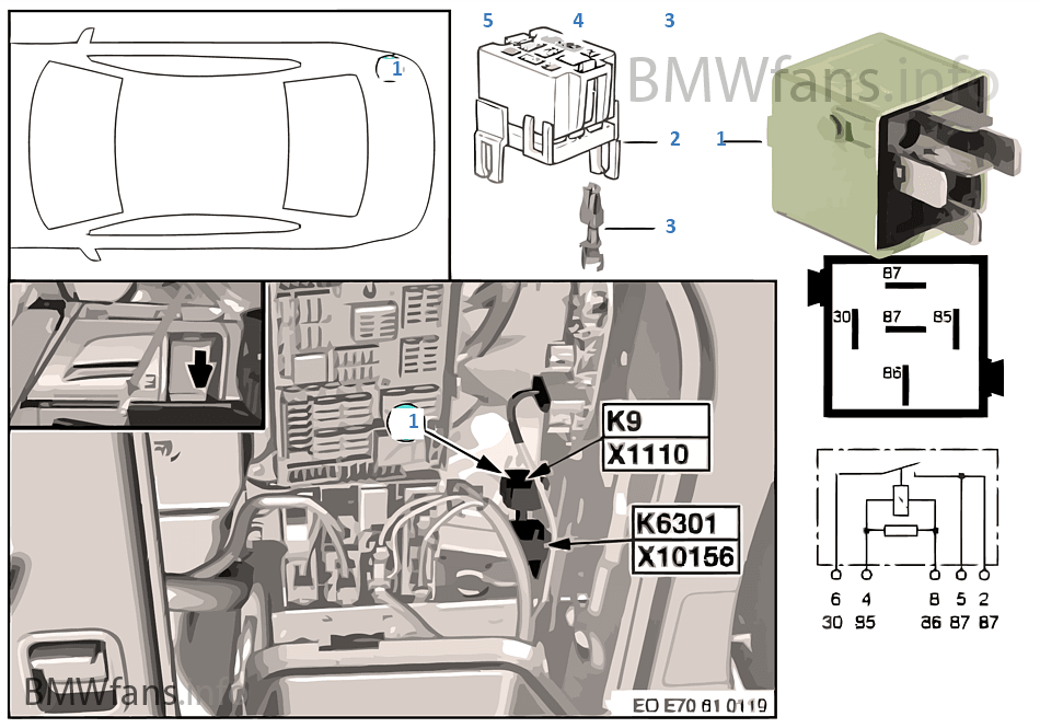 Load-shedding relay for Terminal 15 K9 | BMW X5 E70 X5 4 8i N62N USA