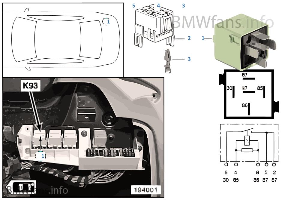 Load-shedding relay for Terminal 15 K93   BMW X5 E53 X5 3 0d