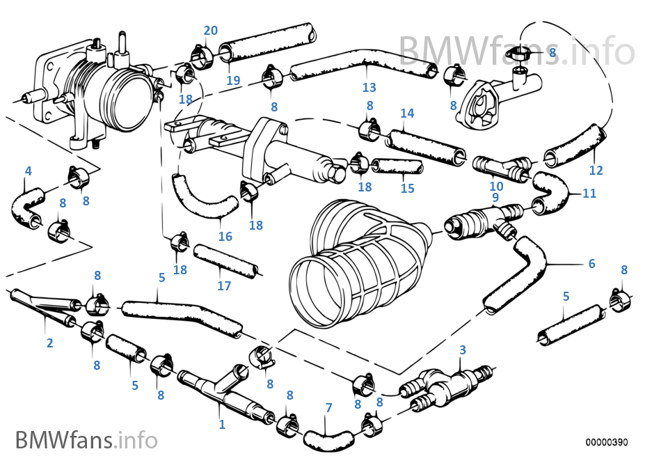 vacuum engine bmw 5 e28 520i m20 europe