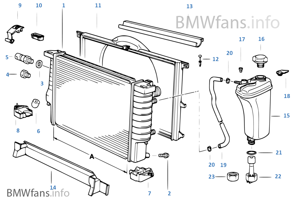 radiator expansion tank frame bmw 3 e36 328i m52 usa rh bmwfans info 1997 bmw 328i cooling system diagram 2000 bmw 328i radiator diagram