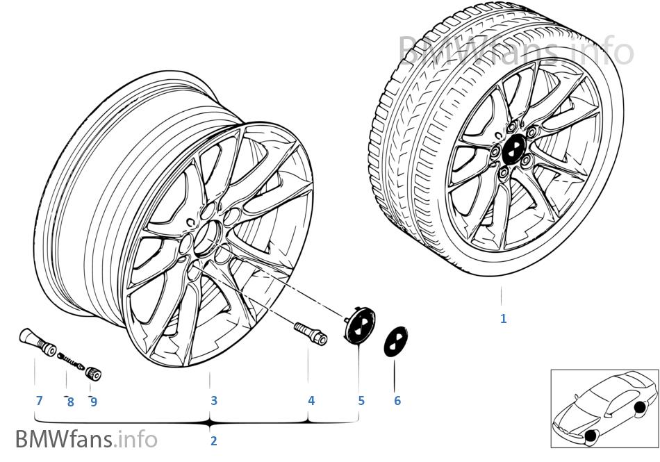 BMW light alloy wheel, radial spoke 50