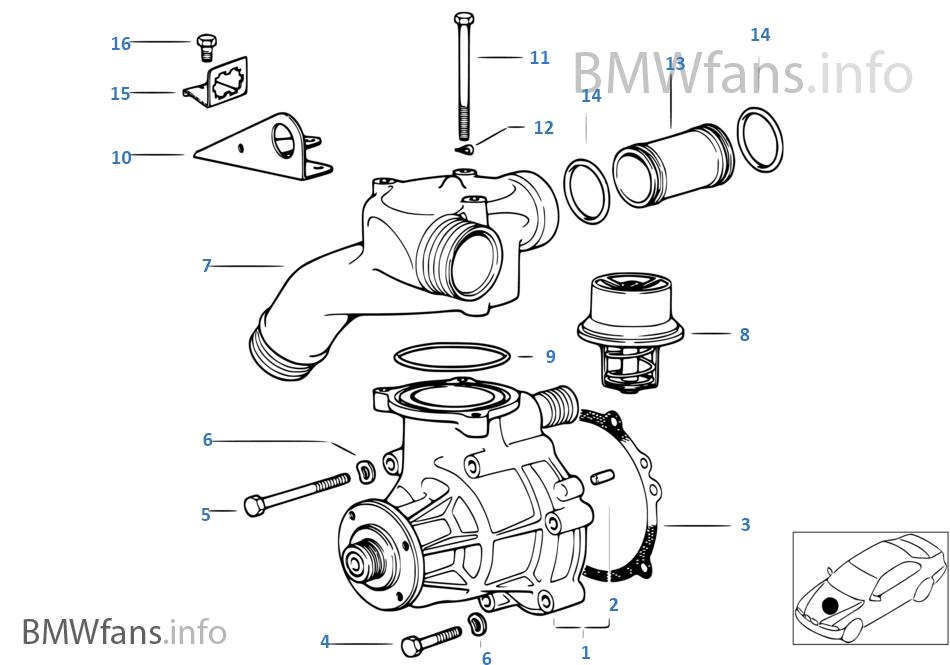 waterpump — thermostat  bmw / m3 e36