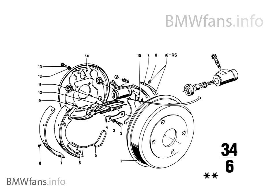 Rear wheel brake, drum brake | BMW 1502-2002tii 2002 M10 USA