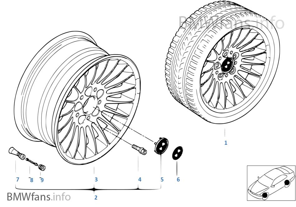 Bmw Light Alloy Wheel Radial Spoke 61 Bmw 7 E38 750i M73 Europe