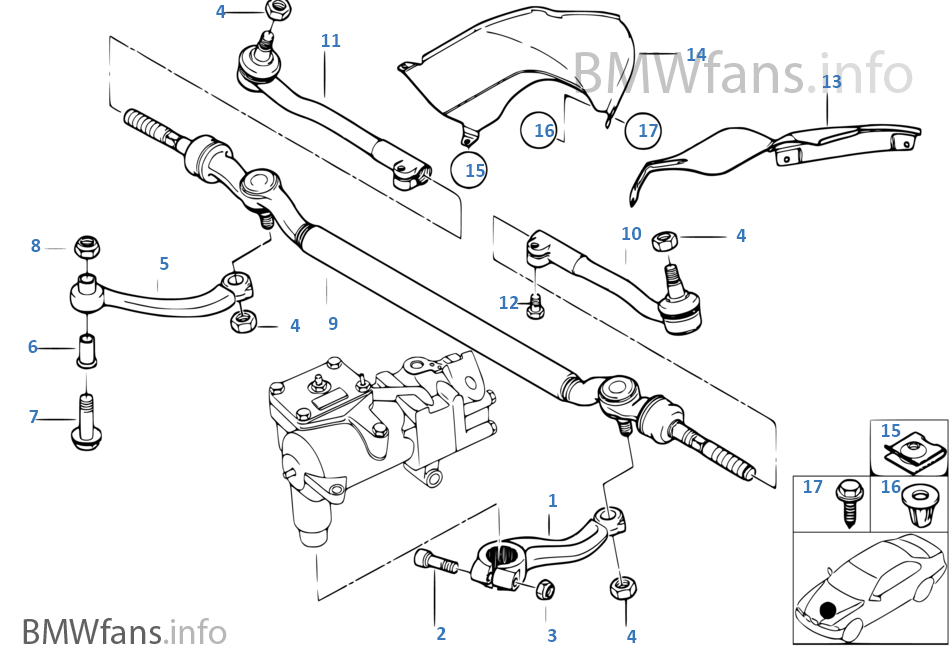 Steering Linkage Tie Rods Bmw 5 E39 540i M62 Europe