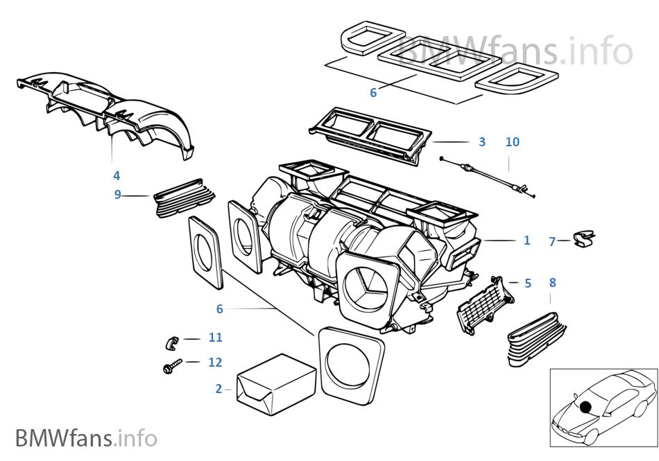 Housing parts — air conditioning | BMW X5 E53 X5 3 0i M54 USA