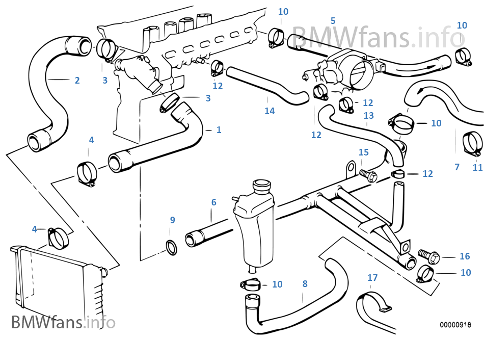 cooling system water hoses bmw 3 e36 328i m52 usa rh bmwfans info 2000 bmw 328i cooling system diagram 2000 bmw 328i cooling system diagram