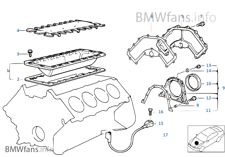 Engine Block Mounting Parts | BMW 5' E34 540i M60 Europe | Bmw M60 Engine Diagram |  | BMWfans.info