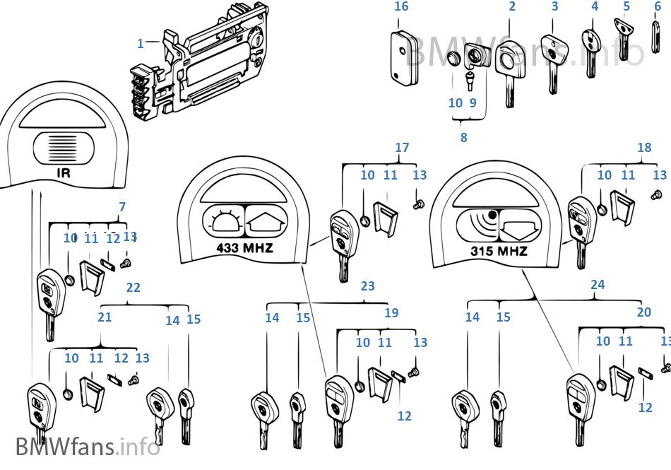 Door handle front/lock/key | BMW 8' E31 840i M60 Europe