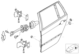 Rear door — hinge/door brake