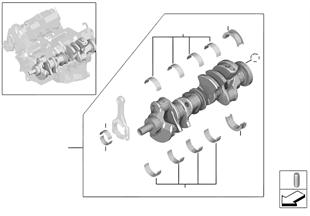 Kurbeltrieb-Kurbelwelle mit Lagerschalen