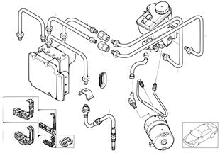 Brake pipe, front, 4-wheel