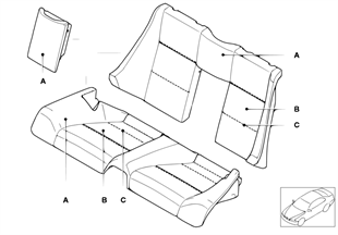 Individual cover, seat, rear, leather N6