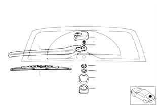 Single parts, rear window wiper arm