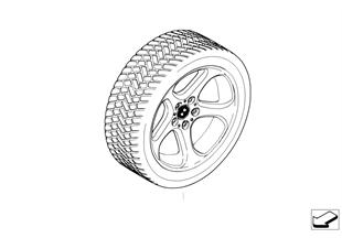 Roda+pneu Inverno comp.raios estrela 69