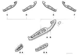 Individual armrest, front and rear