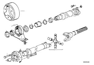 Drive shaft, univ.joint/center mounting