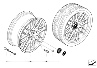 BMW light alloy wheel, M cross spoke 163