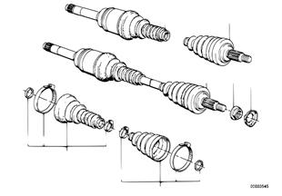 Vooras differentieel, uitgaande as, 4-wiel