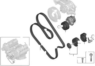 Riementrieb für Wasserpumpe/Generator