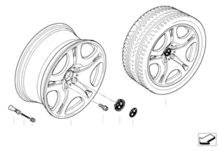 BMW light alloy wheel, spider spoke 92