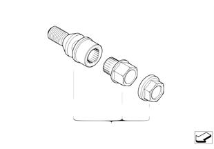 Fecho dos pernos de roda com adaptador