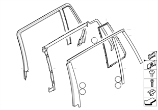Trim and seals for door, rear