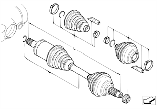 Final drive(frnt axle), output shaft, 4whl