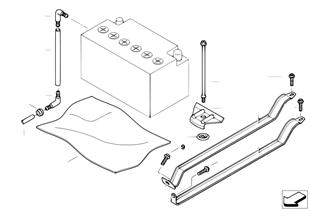 Fixação da bateria e peças adicionais